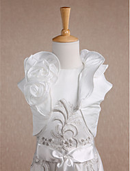 cheap -Short Sleeves Taffeta Wedding Party Evening Casual Kids' Wraps With Flower(s) Wave-like Shrugs