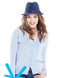 abordables -Mujer Un Color Diario Casual Cardigan, Escote en Pico Primavera Otoño Manga Larga