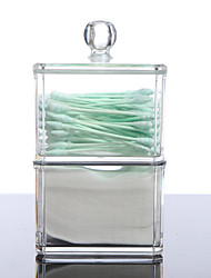 cheap -Acrylic Cotton Swab Organizer Box Portable Round Container Storage Case Make up Cotton Box For Home Hotel Office