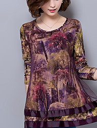 cheap -Women's Plus Size / Casual Street chic Fall Loose Fashion Blouse Shirts,Print Mesh Long Sleeve Brown / Purple Chiffon