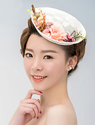 Women's Satin / Lace Headpiece-Wedding / Special Occasion Fascinators / Hats 1 Piece With Flowers