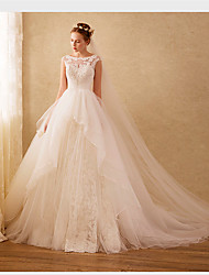 cheap -Ball Gown Scoop Neck Sweep / Brush Train Organza Wedding Dress with Beading Appliques Lace by LAN TING BRIDE®