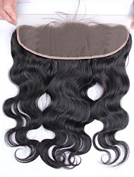 "Brazilian Virgin Hair Body Wave 13""x4"" Lace Frontal Closure 8-20 inch Free Part Bleached Knots Baby Hair"