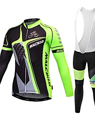 cheap -Malciklo Cycling Jersey with Bib Tights Men's Long Sleeves Bike Jersey Bib Tights Clothing Suits Bike Wear Quick Dry Front Zipper