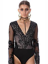 Women's Sequin Patchwork Sequins Mesh Slim Jumpsuits,Sexy V Neck Long Sleeve