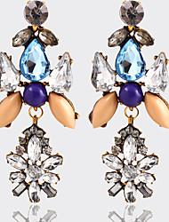 Moda Vintage Cristal Strass Chapeado Dourado Forma Geométrica Arco-Íris Jóias Para Casamento Festa Diário Casual 1 par