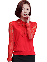 cheap -Women's Lace Spring/Fall Go out/Daily Blouse Solid Bow Collar Long Sleeve Red/Black /Purple Slim Tops