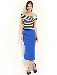 cheap -JOANNE KITTEN Women's Off The Shoulder Bateau Striped Multi-color Vintage/Sexy/Bodycon/Party/Work/Plus Sizes Sleeveless