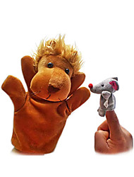 cheap -2PCS The Lion and The Mouse Finger Puppets Kids Talk Prop