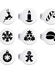 8Pcs Deer & Snowflake Christmas Cake Stencil Fondant Cupcake Stencils ST-852