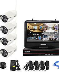 abordables -pnp pantalla de 1,3 MP cámara de circuito cerrado de televisión yanse® 10 pulgadas inalámbrico NVR kit de visión nocturna del ir IP de la