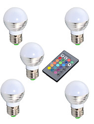 cheap -YWXLight® 3W E14 GU10 E26/E27 LED Globe Bulb 150-250lm RGB Infrared Sensor Dimmable Remote-Controlled 5pcs AC 85-265V