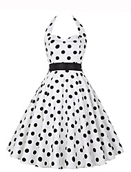 cheap -Women's Going out Vintage A Line Dress,Polka Dot Halter Knee-length Sleeveless Polyester Summer Mid Rise Micro-elastic