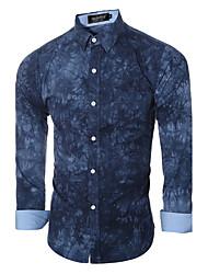 cheap -Men's Daily Formal Spring Fall Shirt,Print Long Sleeves Cotton