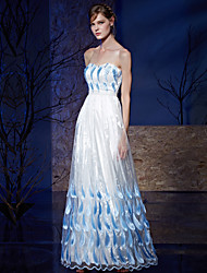 A-Line Strapless Floor Length Organza Charmeuse Prom Formal Evening Dress with Beading Embroidery by Vanedress