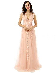 cheap -A-Line V-neck Floor Length Tulle Prom Formal Evening Dress with Appliques by DRRS