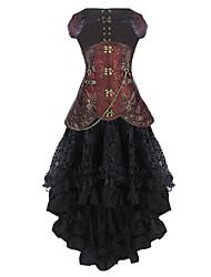 cheap -Burvogue Women's Gothic Leather Steel Boned Steampunk Underbust Corset Dress