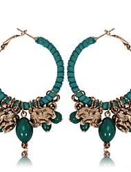 baratos -Mulheres Elefante Brincos Compridos - Boêmio / Europeu Preto / Vermelho / Verde Redonda / Formato Circular / Forma Geométrica Brincos Para