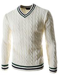economico -Standard Pullover Da uomo-Casual Semplice Monocolore Blu Bianco Verde A V Manica lunga Lana Autunno Inverno Medio spessoreMedia