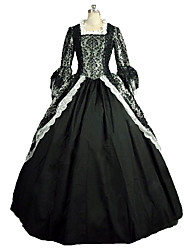 One-Piece/Dress Gothic Lolita Steampunk® Victorian Cosplay Lolita Dress Black Print Long Sleeves Long Length Dress For Lace Linen Satin