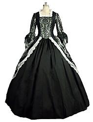 Une Pièce/Robes Gothique Steampunk® Victorien Cosplay Vêtrements Lolita Noir Imprimé Manches Longues Long Robe Pour Dentelle Lin Satin