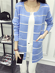 cheap -Women's Daily Casual Striped Round Neck Cardigan, Long Sleeves Fall Cotton