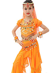 cheap -Belly Dance Outfits Performance Polyester Chiffon Satin Gold Coin Ruched Short Sleeve Natural Top Pants Belt Veil Bracelets Headwear