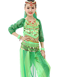 cheap -Belly Dance Outfits Children's Performance Chiffon Gold Coins / Sequins 7 Pieces Fuchsia / Light Green / Orange / Purple