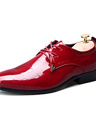 Herren Schuhe Lackleder Frühling Herbst Komfort Outdoor Schnürsenkel Für Normal Party & Festivität Schwarz Rot