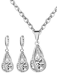 cheap -Women's Sterling Silver / Zircon Cute Jewelry Set Earrings / Necklace - Party / Work / Casual White Necklace / Earrings For Party / Daily