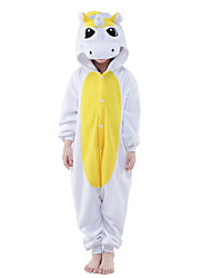 cheap -Kigurumi Pajamas Unicorn Onesie Pajamas Costume Polar Fleece Yellow / Blue Cosplay For Kid's Animal Sleepwear Cartoon Halloween Festival