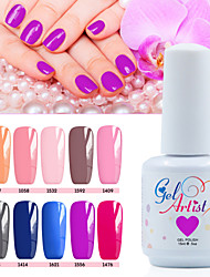 abordables -Gel UV para esmalte de uñas 15ml 12picecs/set Esmalte Gel UV de Color Esmalte Gel UV Top Coat Esmalte Top Coat Esmalte Base Coat Luz
