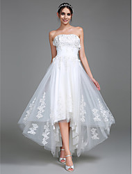 cheap -A-Line Strapless Asymmetrical Tulle Made-To-Measure Wedding Dresses with Appliques / Ruched by LAN TING BRIDE®