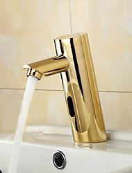 Contemporaneo Installazione centrale Sensore with  Valvola solenoide Mani libere Un foro for  Ti-PVD , Lavandino rubinetto del bagno