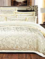 cheap -Duvet Cover Sets Floral 4 Piece Silk Embroidery Silk 4pcs (1 Duvet Cover, 1 Flat Sheet, 2 Shams)
