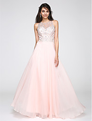 cheap -A-Line Jewel Neck Floor Length Chiffon Prom Formal Evening Dress with Beading by TS Couture®