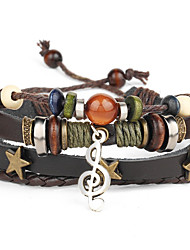 cheap -Punk Men's Bracelet PU Leather Bracelet Music Note Charm Multilayer for Men Fashion Jewelry Gifts