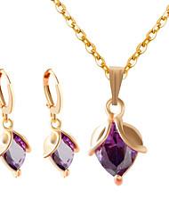 Schmuck Halsketten / Ohrringe Halskette / Ohrringe Hochzeit / Party / Alltag / Normal 1 Set Damen Weiß / Lila Hochzeitsgeschenke