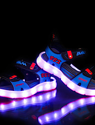 LED Light Up Shoes, Girl's Sandals Summer Sandals PU Casual Flat Heel Blue / Gray