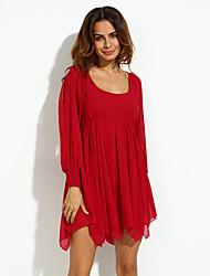 Swing Robe Vintage,Couleur Pleine Col Arrondi Au dessus du genou Manches Longues Rose / Gris Polyester Automne Taille Normale