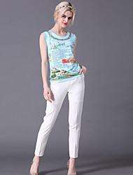 abordables -Mujer Bonito Noche Verano Conjunto Pantalón Trajes,Escote Redondo Floral / Letra Sin Mangas Algodón Azul Medio