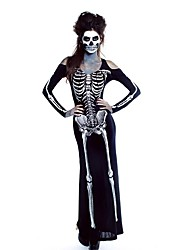 Ghost Zombie Cosplay Costumes Party Costume Female Halloween Carnival Oktoberfest Festival/Holiday Halloween Costumes Black with White