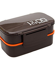 12:00 Clock 2 Layers Bento Lunch Box 1.4L Plastic Microwave Oven Food Container (Random Color)
