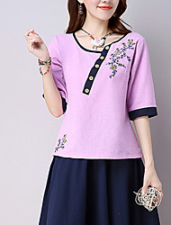 cheap -Women's Going out / Daily Print / Embroidered Asymmetrical ½ Length Sleeve Pink / White Cotton