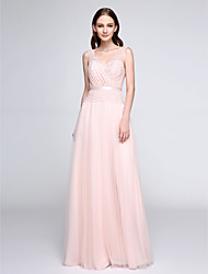 cheap -Sheath / Column V Neck Floor Length Lace Tulle Bridesmaid Dress with Lace by LAN TING BRIDE®