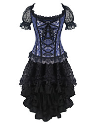 cheap -Shaperdiva Women's Retro Lace Bustier Steampunk Skirts Corset Dress Tops