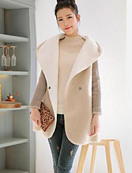cheap -Women's Plus Size Street chic Coat,Solid Hooded Long Sleeve Winter White / Gray / Multi-color Cotton Thick