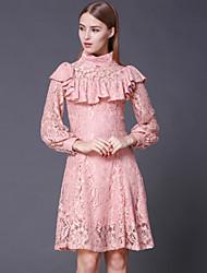 Stephanie donne di uscire a collo alto dresssolid epoca sopra manica lunga al ginocchio rosa cotone / rayon