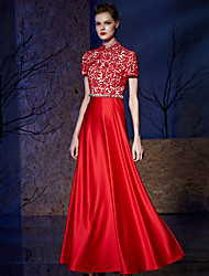 A-Line High Neck Floor Length Lace Satin Prom Formal Evening Dress with Crystal Detailing Lace by Vanedress