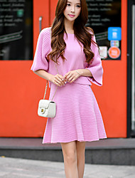 solide jupes rose en tricot, vintage / dessus du genou mignon de dabuwawa femmes
